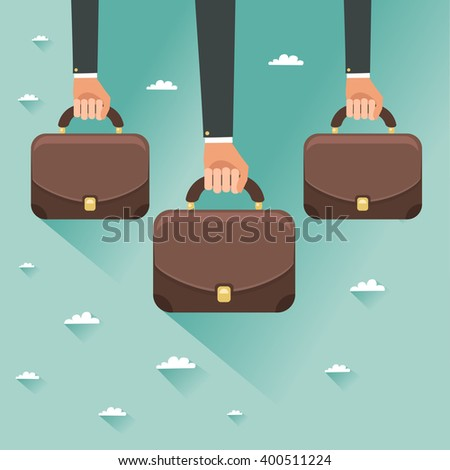 Hands of businessmen holding briefcases. Concept of new government. Colorful vector illustration in flat style - stock vector