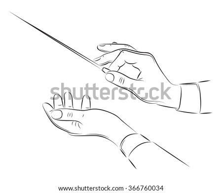 hands of conductor orchestra vector line illustration