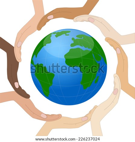 hands of different color of skin circumplanetary earth,vector illustration