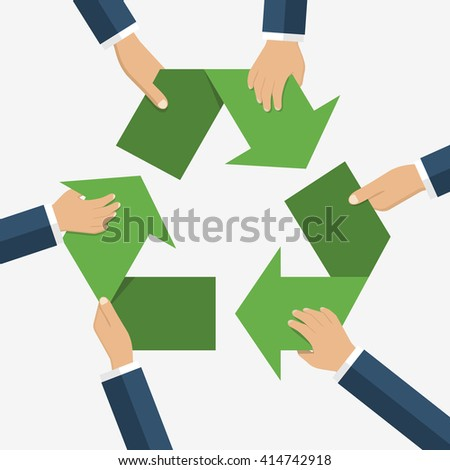 Hands of men holding sign recycling. Recycle sign. Recycle symbol. Vector illustration, flat design style. Caring for environment. Recycle concept. Environmental protection. - stock vector