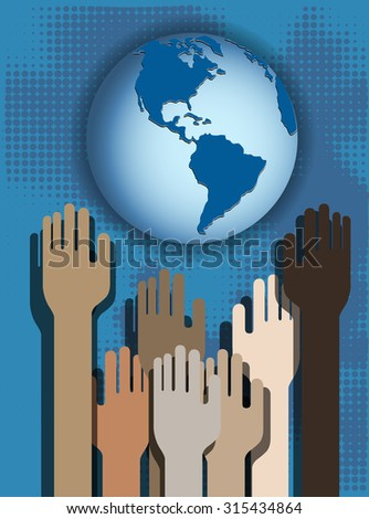 Hands of people on a blue background and globe - stock vector