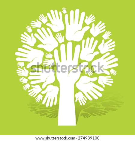 Hands of tree on green color background, vector illustration - stock vector