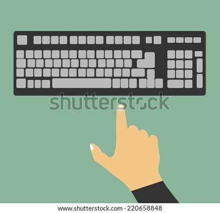 Hands on keyboard - stock vector