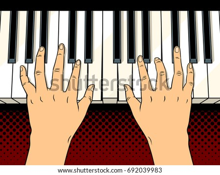 Hands on the piano keys comic book pop art retro style vector illustration.