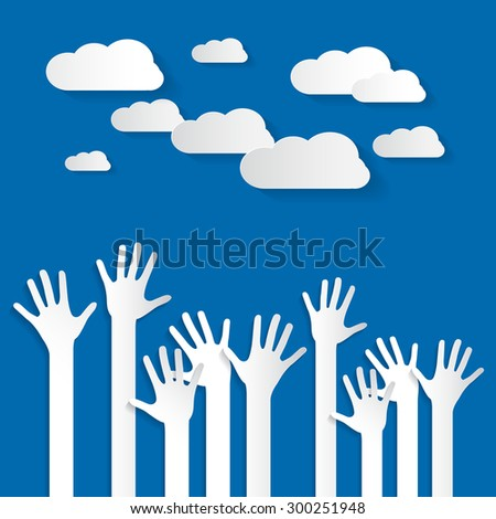 Hands - Paper Cut Palm Hands Set Vector Illustration on Blue Sky Background with Clouds - stock vector