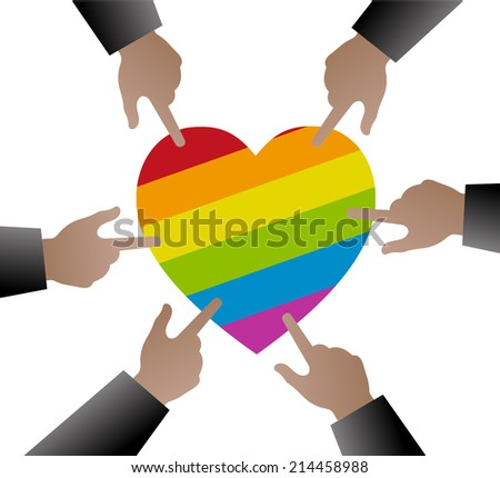 Hands people used to point the gay flag on heart shape - stock vector