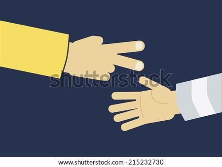 Hands playing paper rock scissors  - stock vector