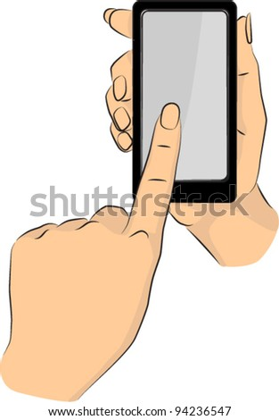 Hands pointing phone