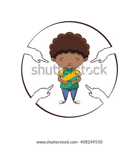 Hands pointing sad boy, vector illustration - stock vector