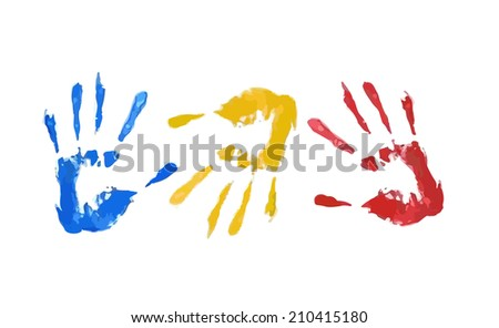 Hands Print Illustration - stock vector