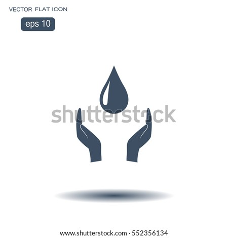 Hands protect cover water drop symbol.