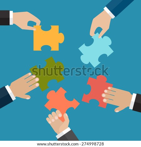 Hands put five jigsaw puzzle pieces together. The problem solution or business organisation concept. Vector illustration - stock vector