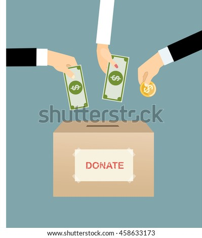 Hands putting gold coin and money in donation box. vector illustration in flat style, infographics web design elements