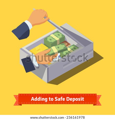 Hands putting money and valuables to a safe deposit box. Flat style illustration. EPS 10 vector. - stock vector