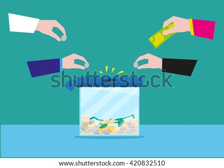 Hands putting money in a glass box or still bank container. Donation or bank savings concept. Editable Clip Art.
