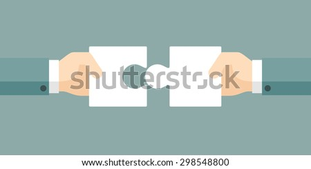 Hands putting puzzle pieces together. Symbol of teamwork and finding solutions. Vector illustration. - stock vector