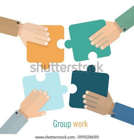 Hands putting puzzle pieces together, Teamwork or Group work logo. Concept logotype template. Colorful style sign or symbol. Perfect logo for your business. Vector graphic illustration.  - stock vector
