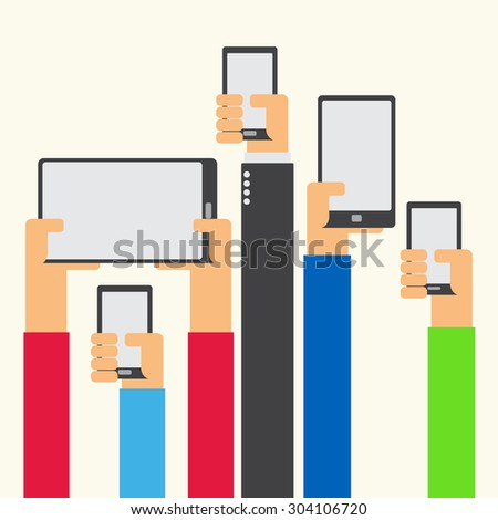 Hands raised holding smartphone and tablet flat design on white background - stock vector