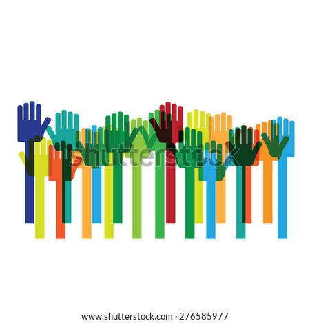 Hands raises up colorful vector