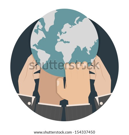 Hands reaching for the world , eps10 vector format - stock vector