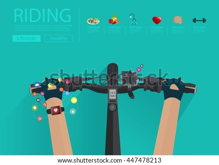Hands riding a bike with wearing a smartwatch heart rate monitor. Smart watch applications icons flat design ideas concepts living healthy life, Vector illustration layout template