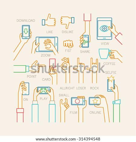 Hands set - line style. Vector illustration. - stock vector