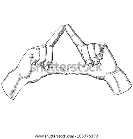 Hands show a triangle