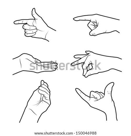 hands signals over white background vector illustration  - stock vector