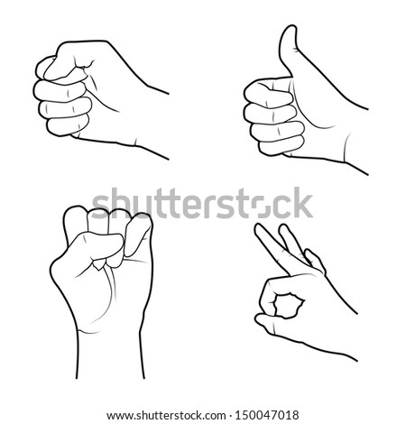 hands signals over white background vector illustration