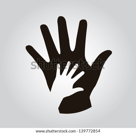 hands silhouette over gray background vector illustration