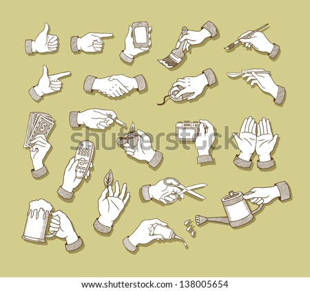 Hands Sketch 1. Hand signs and activity, holding tool drawing vector, Easy to use because each object is a group. - stock vector