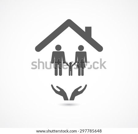 hands support family in house concept logo icon - stock vector