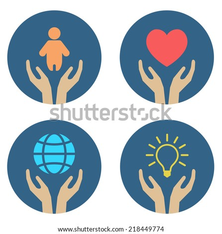 hands supporting child heart globe and light bulb - conceptual icon set - stock vector