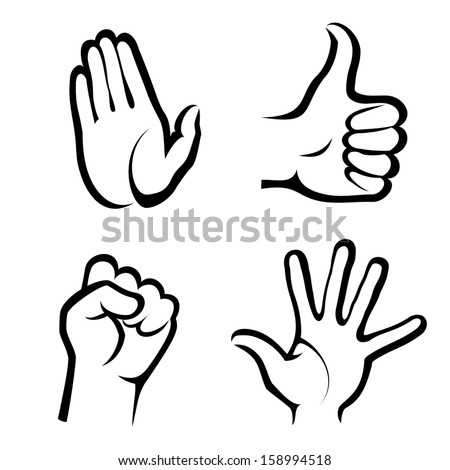 hands symbols collection - stock vector