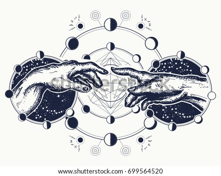 Hands Tattoo Renaissance Gods Adam Symbol Stockvector 699564520