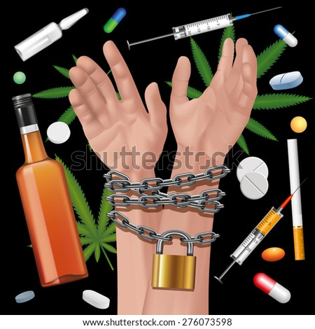 Hands tied a metal chain on a drugs background. Editable elements. Vector illustration - stock vector