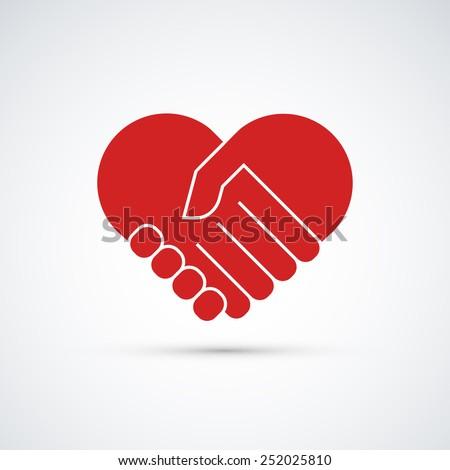 Hands together. Heart symbol. Vector illustration - stock vector