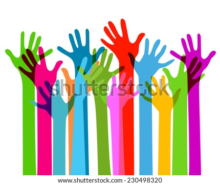 hands together, no transparency - stock vector