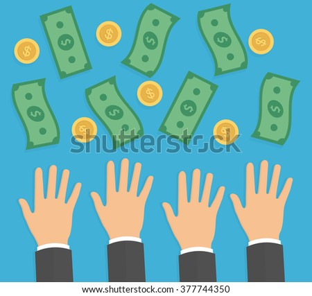 Hands trying to reach money. Need for money concept. Reaching hands with falling money bills and golden coins. Flat design - stock vector