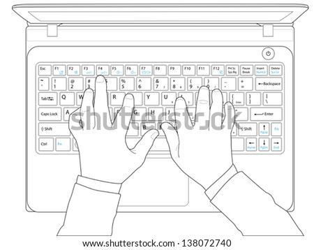Hands typing on keyboard computer laptop,vector - stock vector