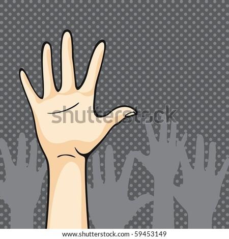 Hands up - stock vector