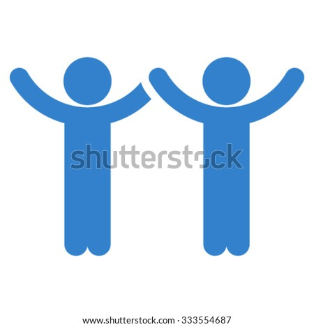 Hands Up Children vector icon. Style is flat symbol, cobalt color, rounded angles, white background.