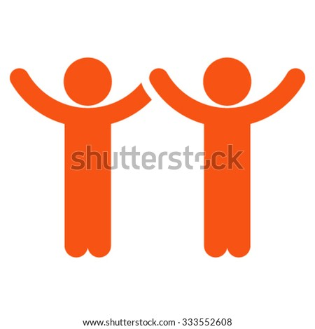 Hands Up Children vector icon. Style is flat symbol, orange color, rounded angles, white background.