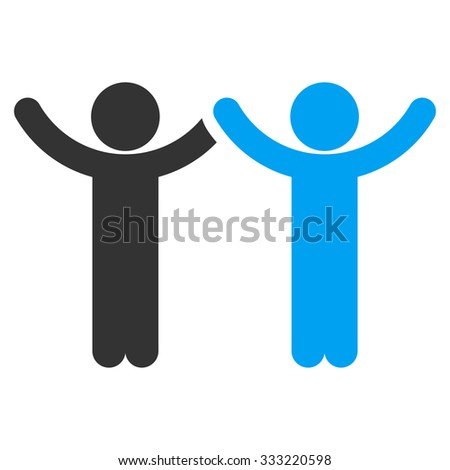 Hands Up Children vector icon. Style is flat symbol, rounded angles, white background.