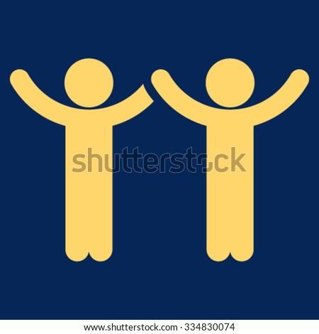Hands Up Children vector icon. Style is flat symbol, yellow color, rounded angles, blue background.
