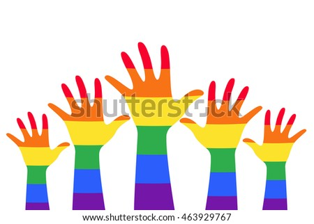hands up colorful rainbow flag symbol vector