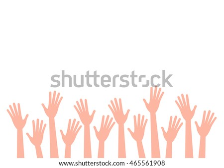 Hands up of Europeans nationalities. Vector isolated hand silhouette on white background.