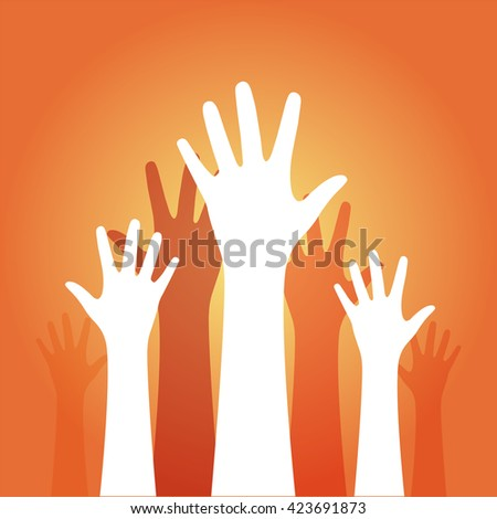 hands up on an orange background