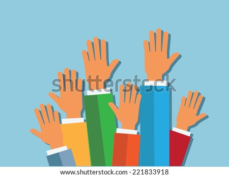hands up on blue background vector illustration. flat design - stock vector