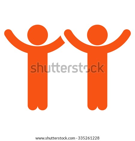 Hands Up Users vector icon. Style is flat symbol, orange color, rounded angles, white background.